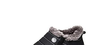 Enly Slip On Snow Winter Boots For Men Women,Anti-Slip Lightweight Ankle Bootie With Fully Fur Black,12 D(M) US,Black/Low