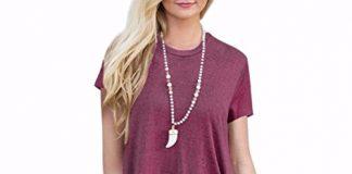 Lelili-Shirt Clearance!! Women Shirt Dress Short Sleeve,Lelili Fashion Lace Patchwork Crewneck Pleat Swing Blouse Tops Sweatshirt (L, Wine Red)