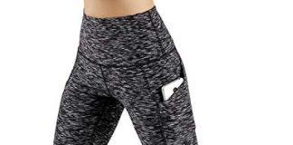 ODODOS High Waist Out Pocket Yoga Capris Pants Tummy Control Workout Running 4 Way Stretch Yoga Capris Leggings,SpaceDyeMattBlack,Large