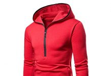 vermers Clearance Mens Hooded Sweatshirt on Sale - Mens Pure Color Zipper Pullover Long Sleeve Hoodie Tops(M, Red)