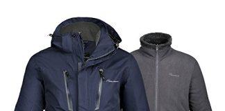 OutdoorMaster Men's 3-in-1 Ski Jacket - Winter Jacket Set with Fleece Liner Jacket & Hooded Waterproof Shell - for Men (Deep Blue,XL)