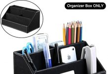 ADVcer 3 Tier Desk Organizer Box, Wood Structure Leather Flannel Table Storage Caddy for Office Home School Dorm Reception, Makeup Accessories, Stationery, Business Card, Mobile Phone, Gadget (Black)
