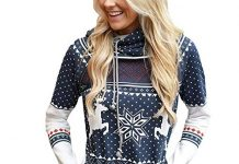 DEATU Sale New Christmas Casual Shirt Women Dots Elk Snowflake Print Tops Hoodies Sweatshirt Pullover Blouse Hot Deal(Navy a,Small
