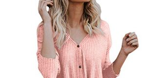 Clearance Womens Blouse on Sale vermers Womens Loose Knit Tunic Tie Knot Henley Tops Batwing Plain Shirts (M, Z-Pink)