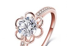 LuckyWeng New Exquisite Fashion Jewelry Rose Gold Exquisite Diamond Flower Zircon Ring