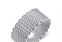 LuckyWeng Women's New Exquisite Fashion Jewelry Hot Sale Platinum Round Weave Mesh Ring