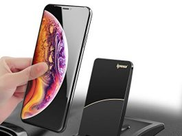 IPOW Hands Free Car Phone Mount, Magnetic Dashboard Cell Phone Holder Mount with Super Sticky Gel Pad Compatible with iPhone X 8 7 6 6s Plus Samsung Galaxy S9 S8 S7 S6 Note 8 Huawei Google LG HTC