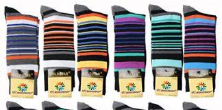 USBingoshopTM Mens Cotton Dress Socks (10-13, Striped-1) 12 Pack