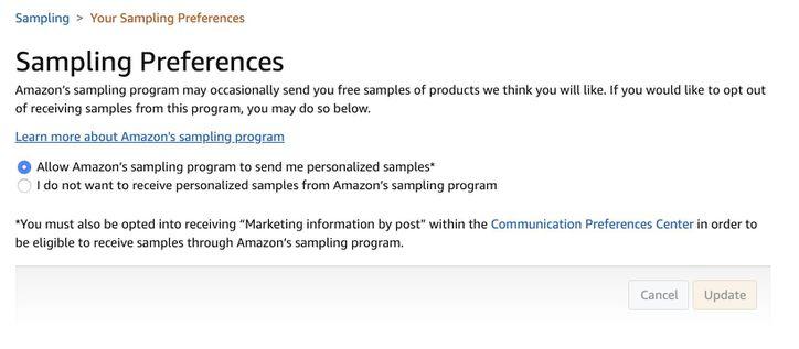 amazon-free-sample-preferences
