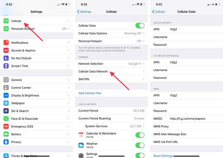 APN Settings iPhone Google Fi