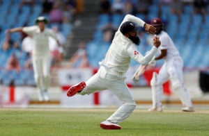 Moeen Ali takes a brilliant catch to dismiss John Campbell.