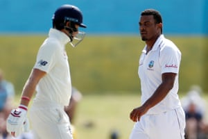 West Indies' Shannon Gabriel and England's Joe Root on day four.