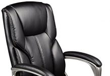 AmazonBasics High-Back Executive Swivel Chair - Black with Pewter Finish