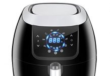 SUPER DEAL XXL 5.8 Qt 8-in-1 Electric Air Fryer Touch Screen Features Customized Function, Pause Set, 8 Cooking Presets and Recipe Books