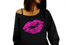 WOCACHI Vanlentine Day Womens Sweatshirt Off Shoulder Pullover Long Sleeve Sexy Lips Blouse Deal Tops Blouses Shirt Autumn Winter Hot Pink