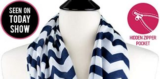 Womens Chevron Print Pattern Infinity Scarf Wrap with Zipper Pocket, Navy and White, Best Travel Infinity Scarves for Women, Girls, Ladies