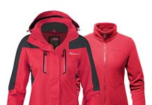 OutdoorMaster Women's 3-in-1 Ski Jacket - Winter Jacket Set with Fleece Liner Jacket & Hooded Waterproof Shell - for Women (True Red,XXL)