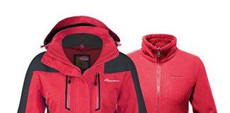 OutdoorMaster Women's 3-in-1 Ski Jacket - Winter Jacket Set with Fleece Liner Jacket & Hooded Waterproof Shell - for Women (True Red,XXL)