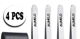 Tweezers Set 4-Piece Professional Stainless Steel Tweezers Gift with Travel Case by AUMELO - Precision Eyebrow and Splinter Ingrown Hair Removal Tweezer Tip,No Colored & Chemical Free