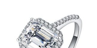 LuckyWeng New Exquisite Fashion Jewelry Platinum Square Austrian Crystal Diamond Ring