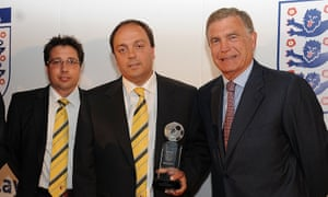 Laurence Bassini and Angelo Barrea of Watford with Sir Trevor Brooking at the  Respect and Fair Play Awards at Wembley in 2011