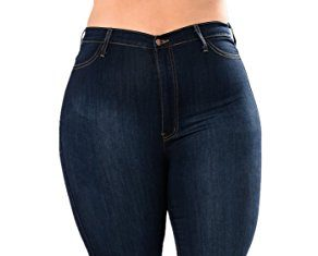 TENGFU Women's High Waist Butt Lift Stretch Plus Size Slim Skinny Jean Denim Pants, Blue 2, 14 (XXL)
