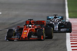 Vettel, chased down by Hamilton.