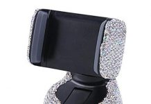LuckySHD Bling Car Air Vent Phone Mount Dashboard Cell Phone Holder - White