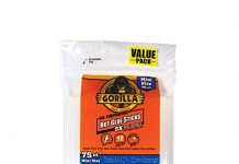 "Gorilla Hot Glue Sticks, Mini Size, 4"" Long x .27"" Diameter, 75 Count, Clear, (Pack of 1)"