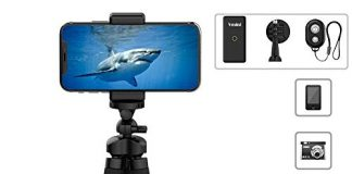 """Phone Tripod, Vmini 11"""" Extended & Flexible Tripod for iPhone, with Rock-Solid Quality, Bluetooth Remote Shutter for iOS/Android Phone, Accessories Perfect for Mobile Phone, Camera, Gopro Camera"""