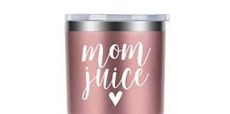 Mom Juice | Coolife 30 oz Stainless Steel Novelty Wine Tumbler Insulated Cup with Lid and Straw | Best Gift for Mother's Day, Mom Birthday, The New Mommy, Mom to be, Wife, Rose Gold
