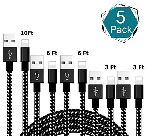 iPhone Charger,MFi Certified Lightning Cable,[5-Packs](3/3/6/6/10FT) Extra Long Nylon Braided Charging&Syncing Cord Compatible with iPhone Xs/XR/XS Max/X/7/7Plus/8/8Plus/6S/6SPlus/5(Black&White)