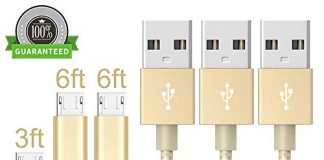 Vanzon Micro USB Cable,3Pack 3FT 2X6FT Long Premium Nylon Braided Android Charger USB to Micro USB Charging Cable Samsung Charger Cord for Samsung Galaxy S7 Edge/S7/S6/S4/S3,Note 5/4/3-GoldWhite