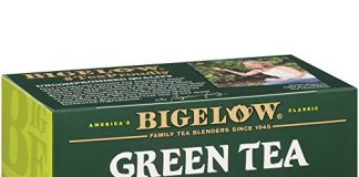 Bigelow Green Tea with Lemon Tea Bags 20-Count Boxes (Pack of 6), 120 Tea Bags Total.  Caffeinated Individual Green Tea Bags, for Hot Tea or Iced Tea, Drink Plain or Sweetened with Honey or Sugar