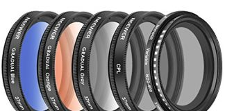 Neewer 37mm Cell Phone Lens Accessory Kit, Includes 0.45X Wide Angle Lens,Lens Clip,Graduated Color Filters (Blue Orange Grey), CPL Filter, ND Filter for iPhone, Samsung, Huawei, etc