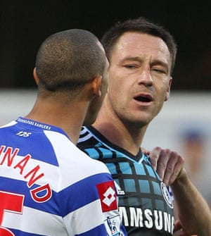 John Terry and Anton Ferdinand during Chelsea's match at QPR in October 2011