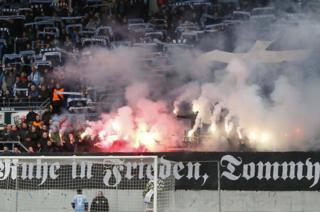Far-right display in Chemnitzer FC stadium, 9 Mar 19