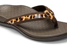 Vionic Women's Tide II Toe Post Sandal - Ladies Flip Flop with Concealed Orthotic Arch Support Brown Leopard 9 M US