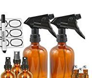 Amber Glass Spray Bottles by Duracare, 2 Trigger Sprayers w/ Screw Cap, 3 Mist Sprayers, 3 Stainless Steel Roller Bottles w/ Labels and Washable Marker, Cap, Dropper and Funnel-BPA-free