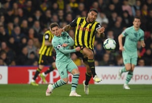 Deeney pushes his forearm into Torreira and sees red.