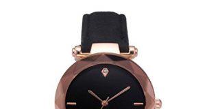 Analog Quartz Watches for Women On Sale Clearance Cuekondy Diamond Leather Band Round Dial Luxury Dress Wrist Watch (Black 2)