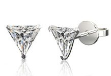 .925 Sterling Silver Hypoallergenic Cubic Zirconia Triangle Shape Stud Earrings, 8mm