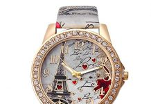Hessimy Mother Day Gift Bling Rhinestone Accented Eiffel Tower Pink Leather Watch Ladies Women Watches