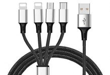 Multi Charger Cable ThinkANT 5FT Nylon Braided Universal 4 in 1 Multiple USB Charging Cord Adapter with 8Pin Plug x2/Type-c/Micro USB Port Connectors for Mobile Phones Tablets and More