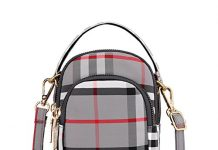 Toniker Nylon Plaid Multi-Pockets Small Crossbody Bags Cell Phone Purse Smartphone Wallet for Women Girls with Handy Carry