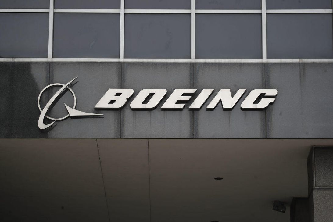 The Boeing logo at its headquarters in downtown Chicago.