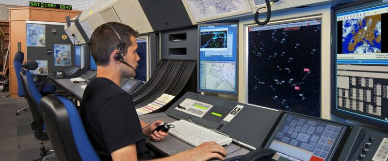 Air traffic controller at work