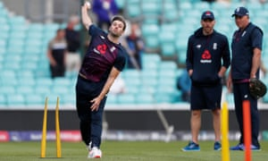 Mark Wood has a bowl at The Oval prior to the match against Afghanistan.