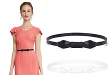 "JASGOOD Women Leather Skinny Belt for Dress Adjustable Thin Waist Belt for Lady (Suit for waist size 25""-30"", F-Black/White)"