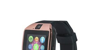 Bluetooth Smart Watch Phone VINCIGEEK Smart Watch Mobile Phone Unlocked Universal GSM Bluetooth 4.0 NFC Music Player Camera Calendar Stopwatch Sync for Android iPhone Google Huawei Smartphones(Gold)